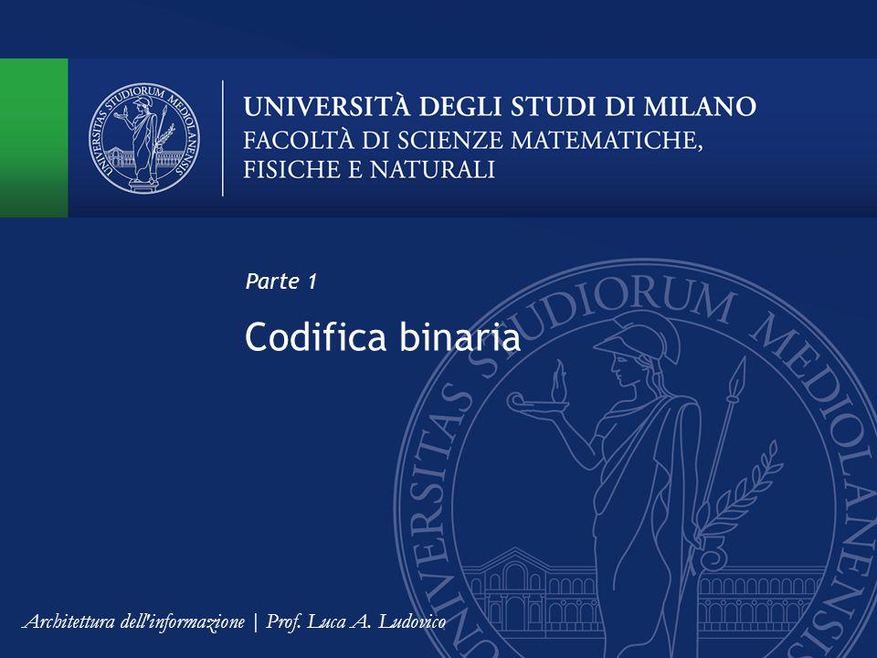 Codifica binaria Parte 1 Architettura dell informazione | Prof. Luca A. Ludovico