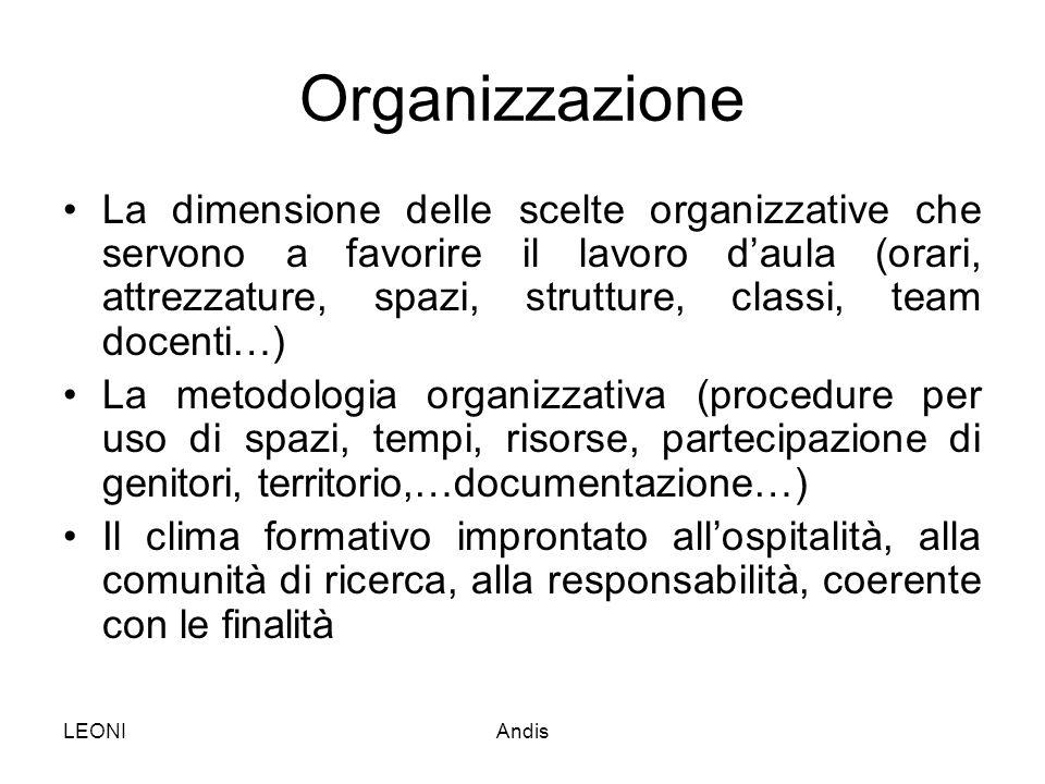LEONIAndis Organizzazione La dimensione delle scelte organizzative che servono a favorire il lavoro d'aula (orari, attrezzature, spazi, strutture, cla
