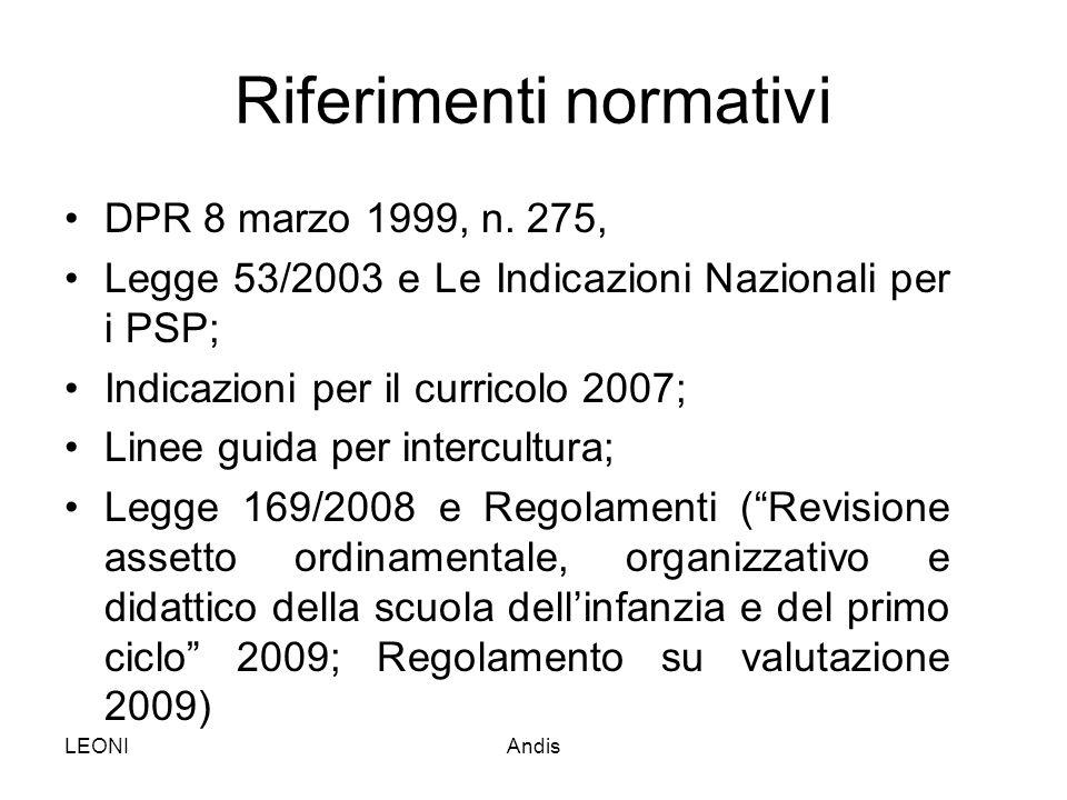 LEONIAndis Riferimenti normativi DPR 8 marzo 1999, n. 275, Legge 53/2003 e Le Indicazioni Nazionali per i PSP; Indicazioni per il curricolo 2007; Line