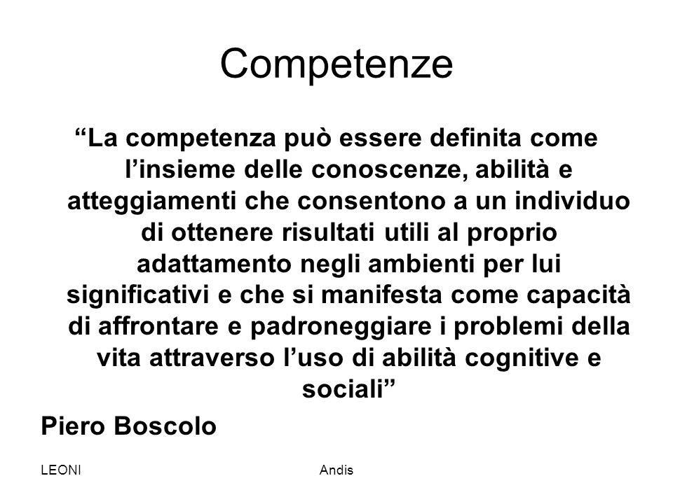 """LEONIAndis Competenze """"La competenza può essere definita come l'insieme delle conoscenze, abilità e atteggiamenti che consentono a un individuo di ott"""
