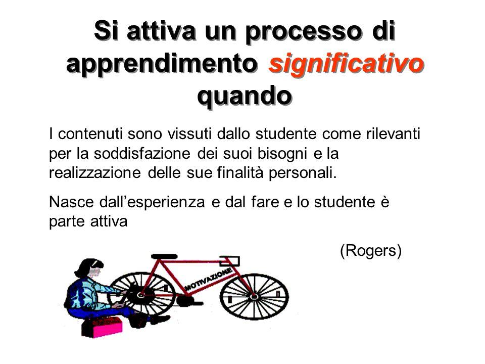 Si attiva un processo di apprendimento significativo quando I contenuti sono vissuti dallo studente come rilevanti per la soddisfazione dei suoi bisog