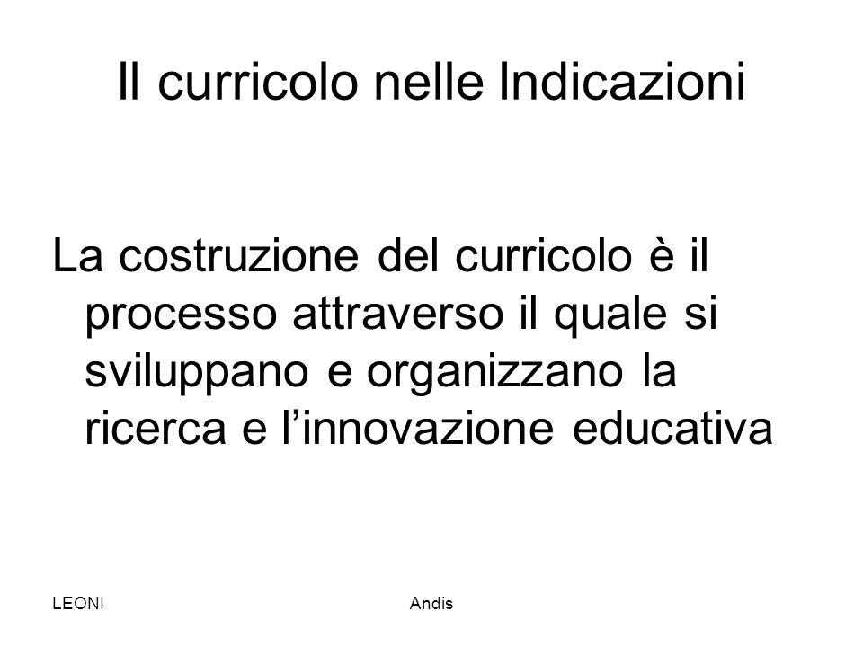 LEONIAndis Il curricolo nelle Indicazioni La costruzione del curricolo è il processo attraverso il quale si sviluppano e organizzano la ricerca e l'in