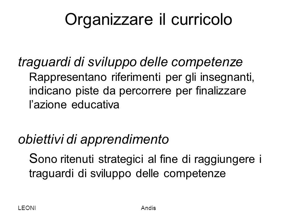 LEONIAndis Organizzare il curricolo traguardi di sviluppo delle competenze Rappresentano riferimenti per gli insegnanti, indicano piste da percorrere