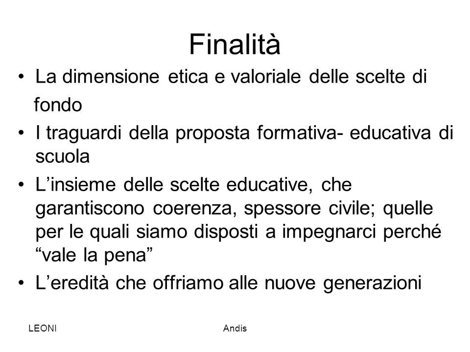 LEONIAndis Finalità La dimensione etica e valoriale delle scelte di fondo I traguardi della proposta formativa- educativa di scuola L'insieme delle sc