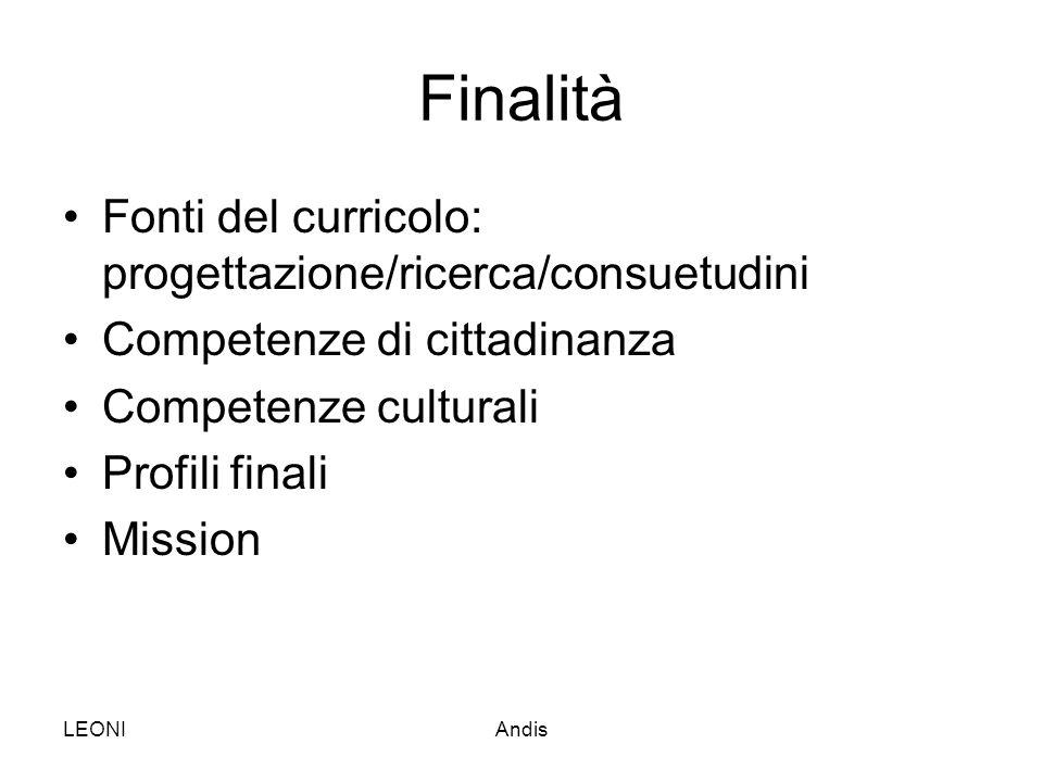 LEONIAndis Finalità Fonti del curricolo: progettazione/ricerca/consuetudini Competenze di cittadinanza Competenze culturali Profili finali Mission