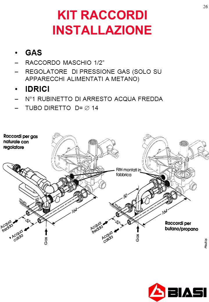 """26 KIT RACCORDI INSTALLAZIONE GAS –RACCORDO MASCHIO 1/2"""" –REGOLATORE DI PRESSIONE GAS (SOLO SU APPARECCHI ALIMENTATI A METANO) IDRICI –N°1 RUBINETTO D"""