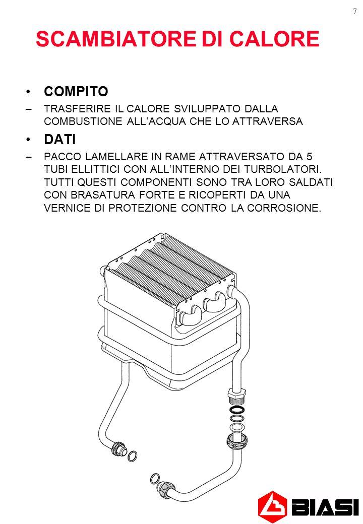 7 SCAMBIATORE DI CALORE COMPITO –TRASFERIRE IL CALORE SVILUPPATO DALLA COMBUSTIONE ALL'ACQUA CHE LO ATTRAVERSA DATI –PACCO LAMELLARE IN RAME ATTRAVERSATO DA 5 TUBI ELLITTICI CON ALL'INTERNO DEI TURBOLATORI.