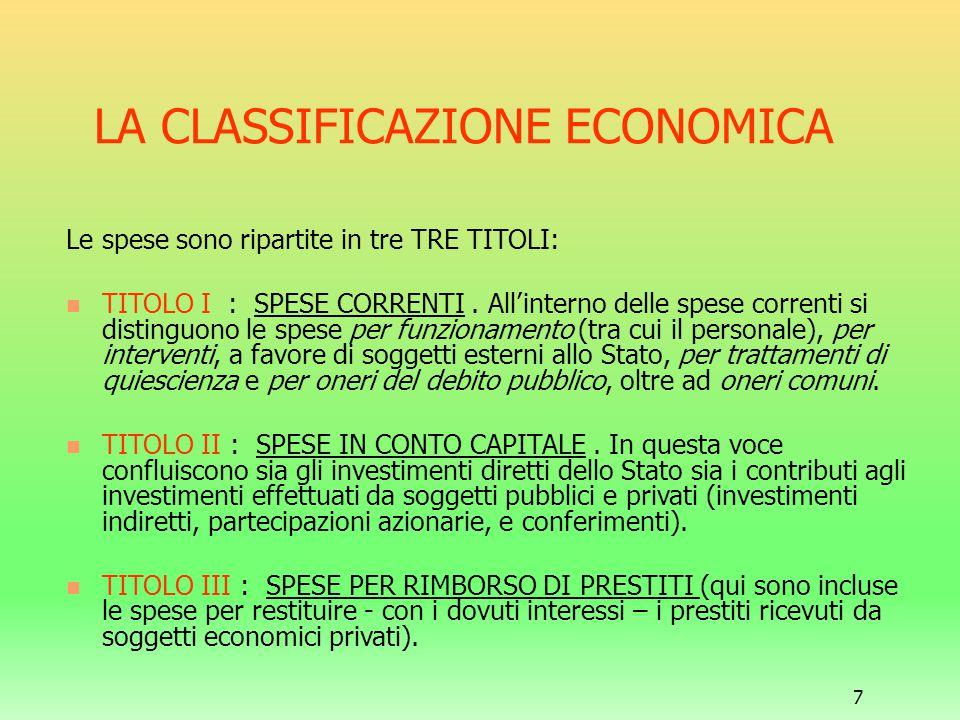 7 LA CLASSIFICAZIONE ECONOMICA Le spese sono ripartite in tre TRE TITOLI: TITOLO I : SPESE CORRENTI. All'interno delle spese correnti si distinguono l