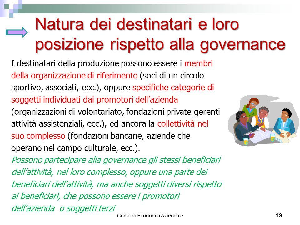 Natura dei destinatari e loro posizione rispetto alla governance Corso di Economia Aziendale 13 I destinatari della produzione possono essere i membri
