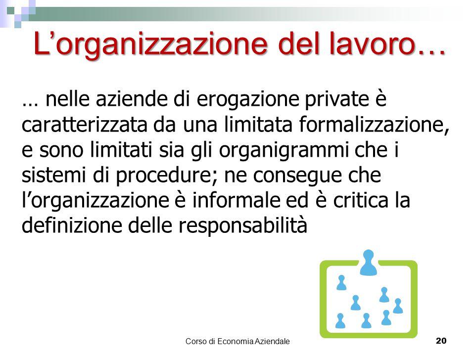… nelle aziende di erogazione private è caratterizzata da una limitata formalizzazione, e sono limitati sia gli organigrammi che i sistemi di procedur