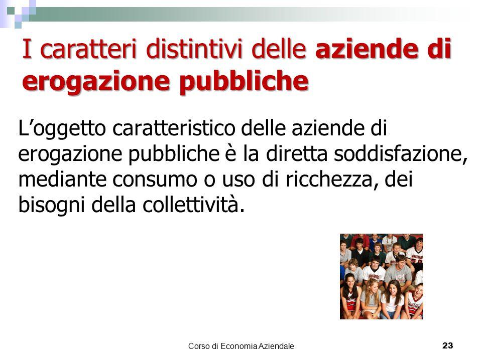 L'oggetto caratteristico delle aziende di erogazione pubbliche è la diretta soddisfazione, mediante consumo o uso di ricchezza, dei bisogni della coll
