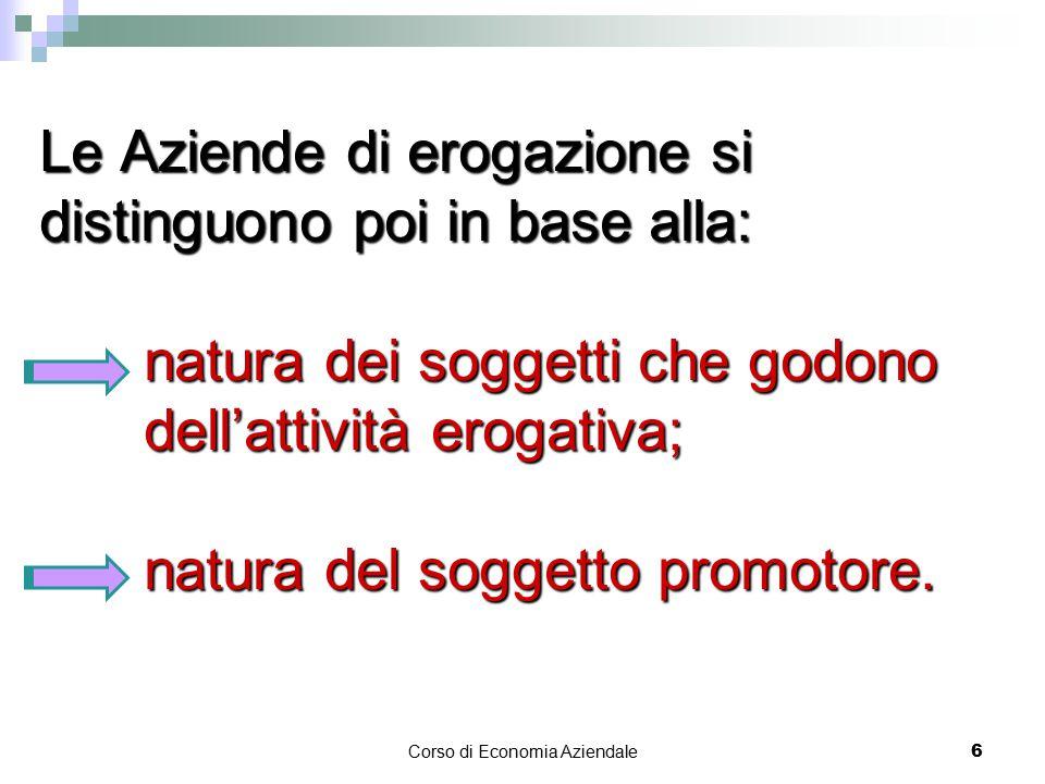 Le Aziende di erogazione si distinguono poi in base alla: natura dei soggetti che godono dell'attività erogativa; natura del soggetto promotore.