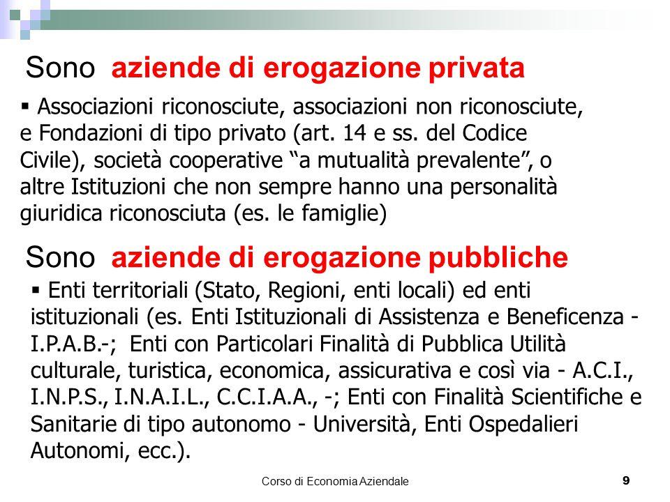 Corso di Economia Aziendale 9 Sono aziende di erogazione privata  Associazioni riconosciute, associazioni non riconosciute, e Fondazioni di tipo priv