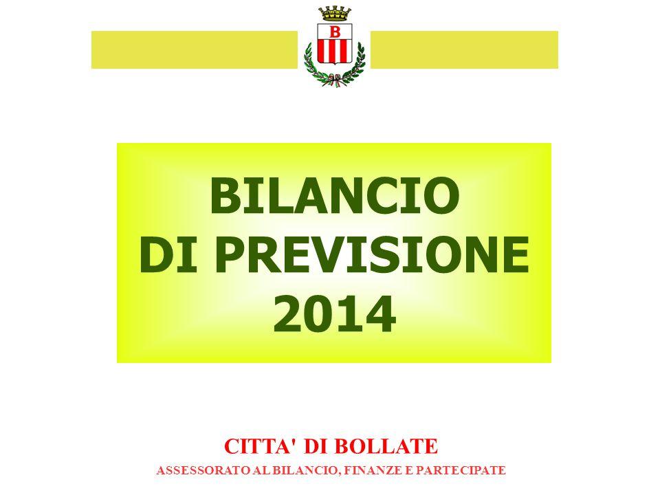 BILANCIO DI PREVISIONE 2014 CITTA DI BOLLATE ASSESSORATO AL BILANCIO, FINANZE E PARTECIPATE