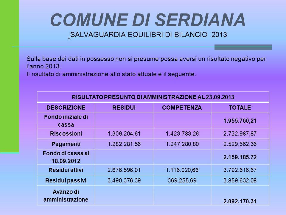 COMUNE DI SERDIANA SALVAGUARDIA EQUILIBRI DI BILANCIO 2013 Sulla base dei dati in possesso non si presume possa aversi un risultato negativo per l'anno 2013.