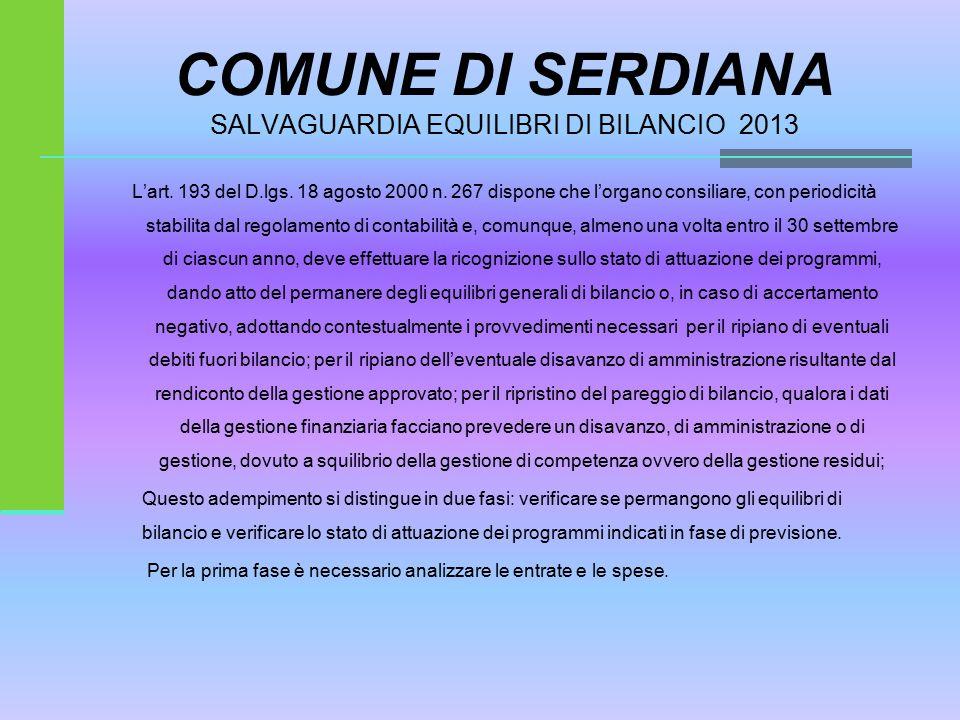 COMUNE DI SERDIANA SALVAGUARDIA EQUILIBRI DI BILANCIO 2013 L'art.