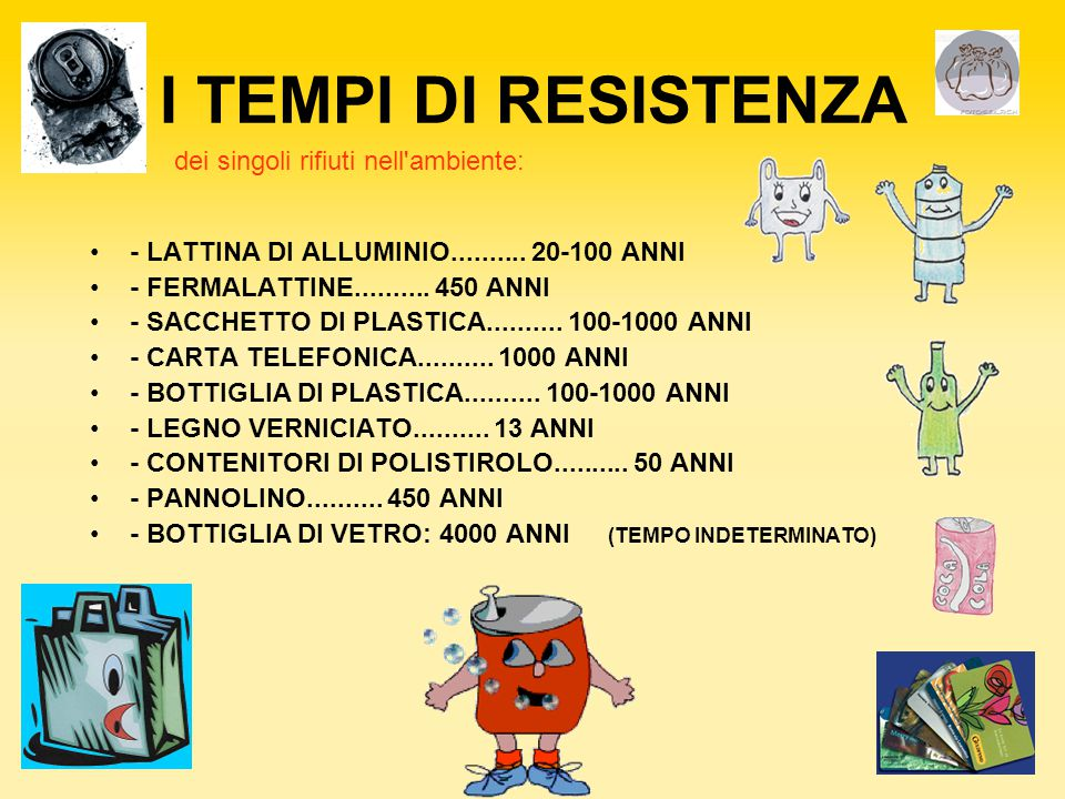 I TEMPI DI RESISTENZA - LATTINA DI ALLUMINIO.......... 20-100 ANNI - FERMALATTINE.......... 450 ANNI - SACCHETTO DI PLASTICA.......... 100-1000 ANNI -