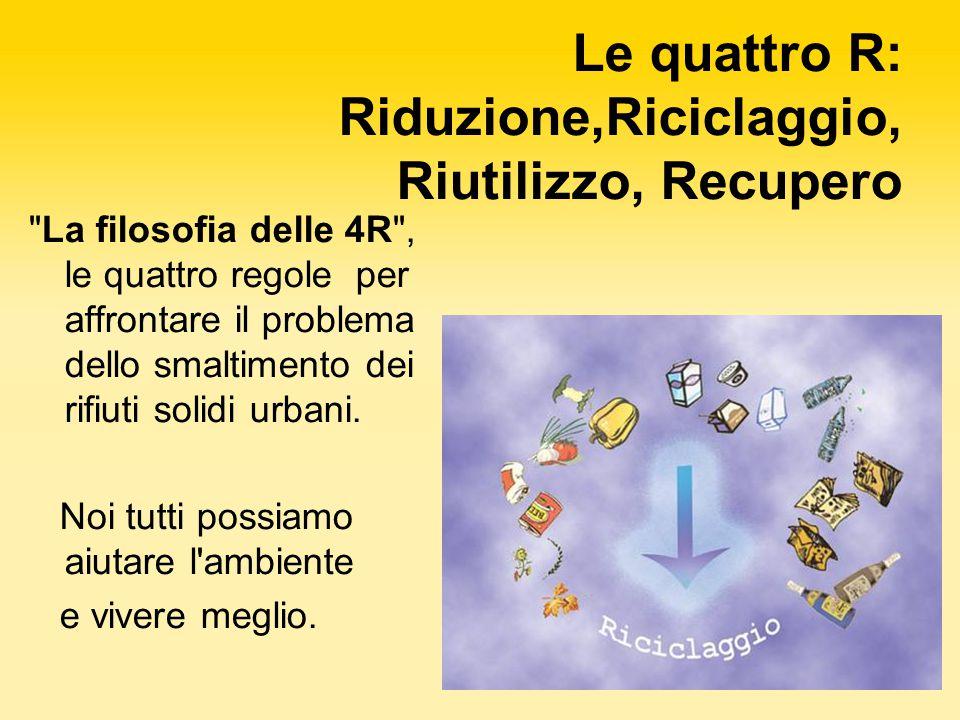 Le quattro R: Riduzione,Riciclaggio, Riutilizzo, Recupero