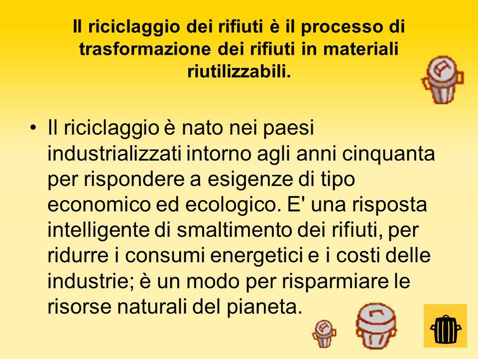 Il riciclaggio dei rifiuti è il processo di trasformazione dei rifiuti in materiali riutilizzabili. Il riciclaggio è nato nei paesi industrializzati i
