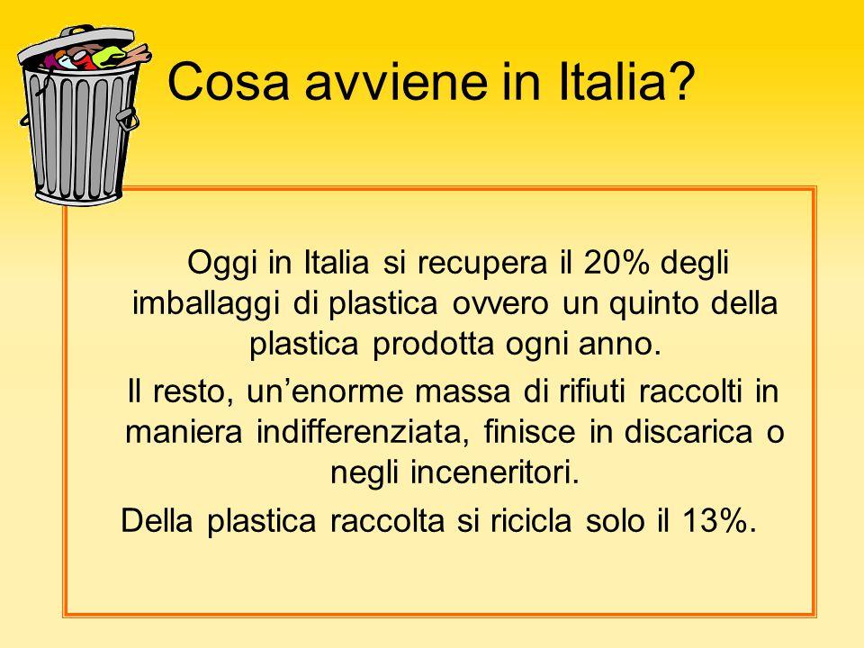 Cosa avviene in Italia? Oggi in Italia si recupera il 20% degli imballaggi di plastica ovvero un quinto della plastica prodotta ogni anno. Il resto, u
