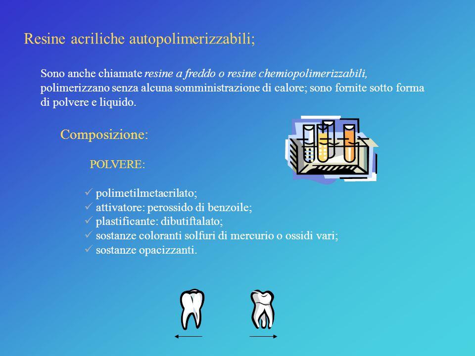 Materiali utilizzati... 1) Resine acriliche: sono utilizzate quelle di tipo autopolimerizzabile. 2) Acciaio inossidabile: componente dei fili metallic