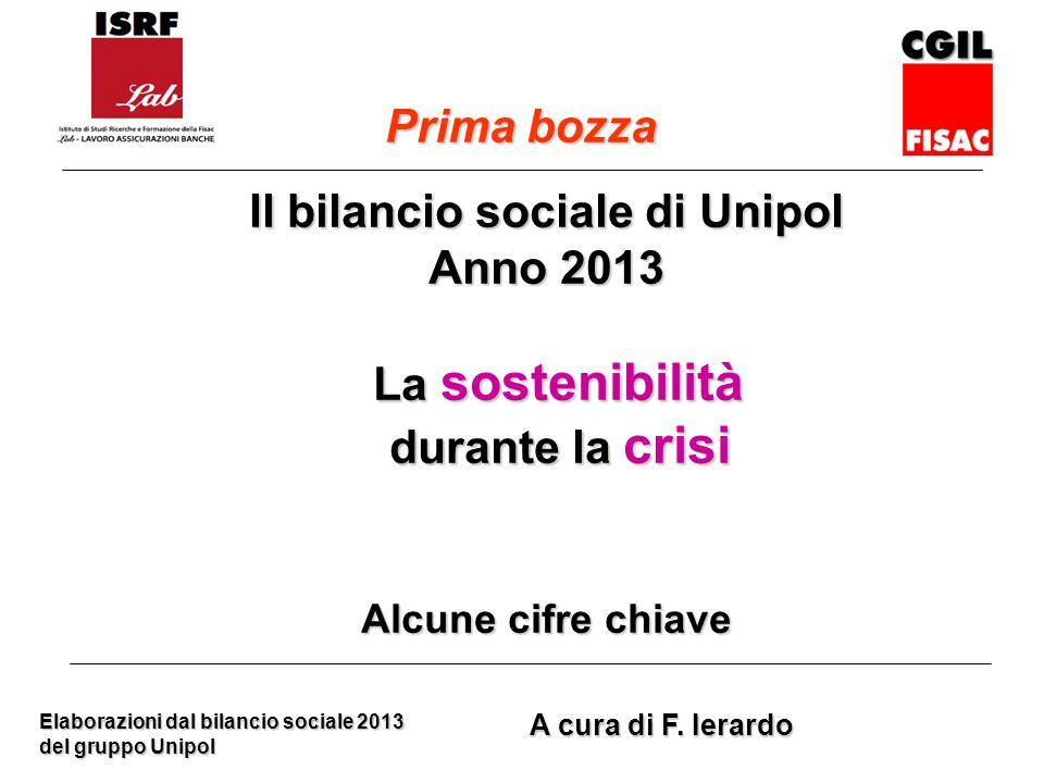 Il bilancio sociale di Unipol Anno 2013 La sostenibilità La sostenibilità durante la crisi durante la crisi Alcune cifre chiave Elaborazioni dal bilancio sociale 2013 del gruppo Unipol A cura di F.