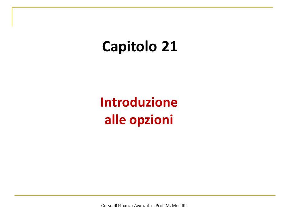Capitolo 21 Introduzione alle opzioni Corso di Finanza Avanzata - Prof. M. Mustilli