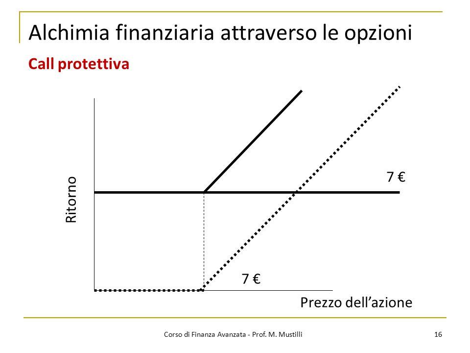 16 Corso di Finanza Avanzata - Prof. M. Mustilli Alchimia finanziaria attraverso le opzioni Call protettiva Ritorno Prezzo dell'azione 7 €