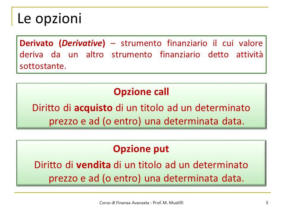 Le opzioni 3 Corso di Finanza Avanzata - Prof. M. Mustilli Opzione put Diritto di vendita di un titolo ad un determinato prezzo e ad (o entro) una det