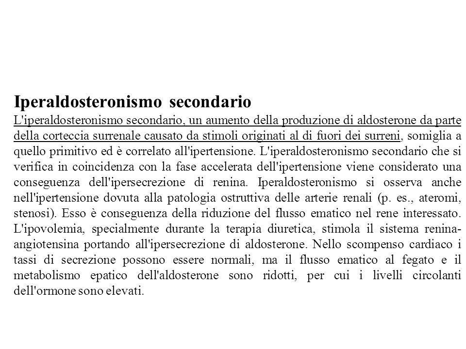 Iperaldosteronismo secondario L'iperaldosteronismo secondario, un aumento della produzione di aldosterone da parte della corteccia surrenale causato d