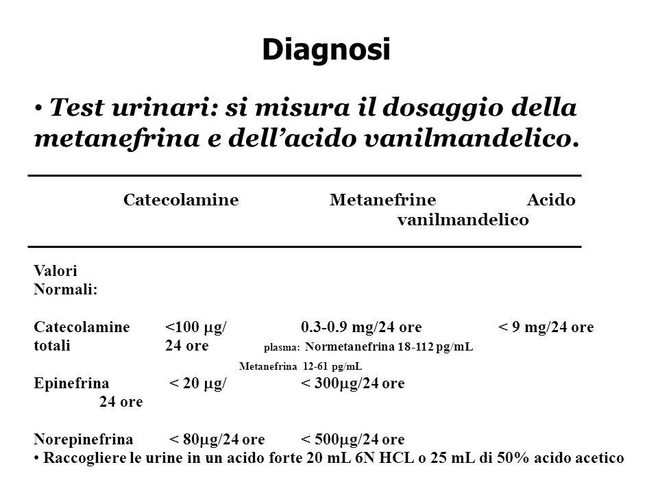 Diagnosi Test urinari: si misura il dosaggio della metanefrina e dell'acido vanilmandelico.