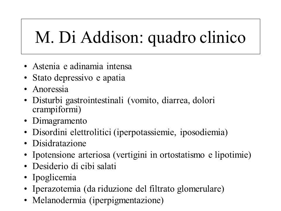 M. Di Addison: quadro clinico Astenia e adinamia intensa Stato depressivo e apatia Anoressia Disturbi gastrointestinali (vomito, diarrea, dolori cramp