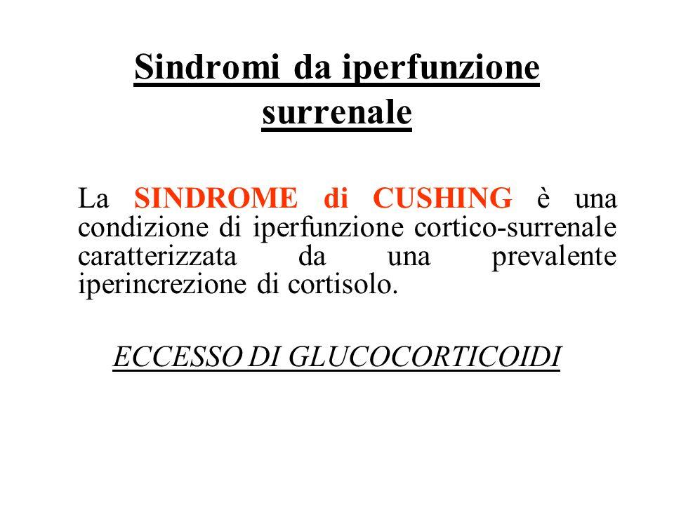 Sindromi da iperfunzione surrenale La SINDROME di CUSHING è una condizione di iperfunzione cortico-surrenale caratterizzata da una prevalente iperincr