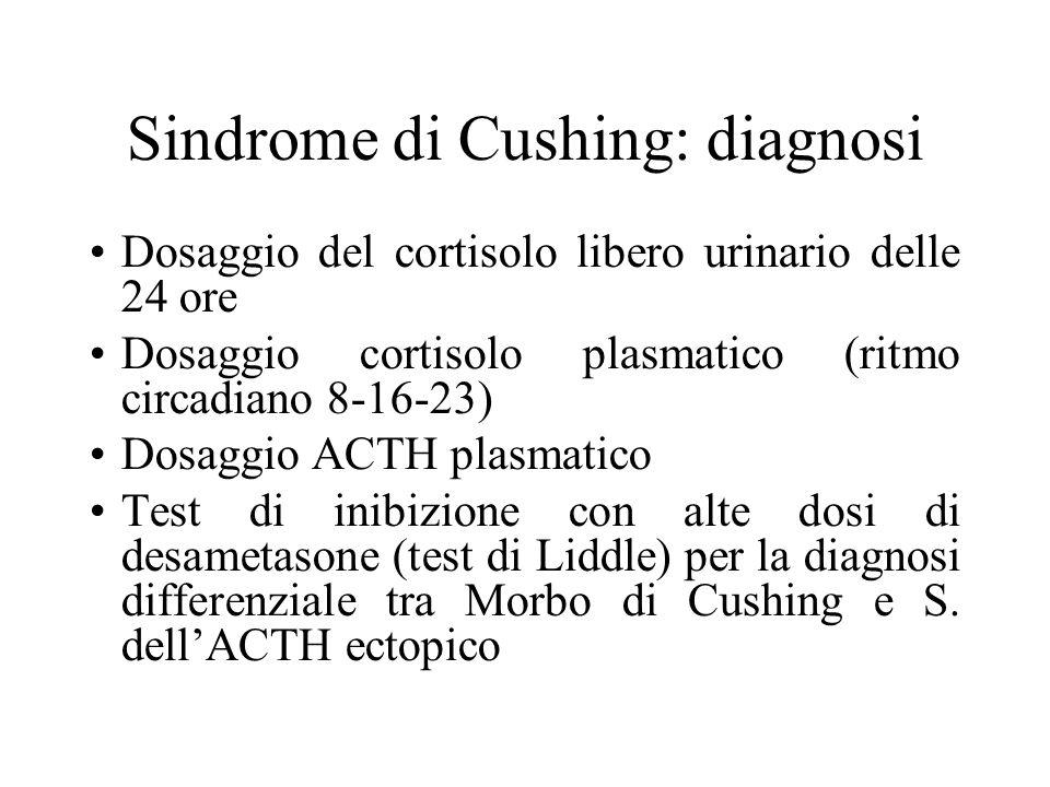 Sindrome di Cushing: diagnosi Dosaggio del cortisolo libero urinario delle 24 ore Dosaggio cortisolo plasmatico (ritmo circadiano 8-16-23) Dosaggio A