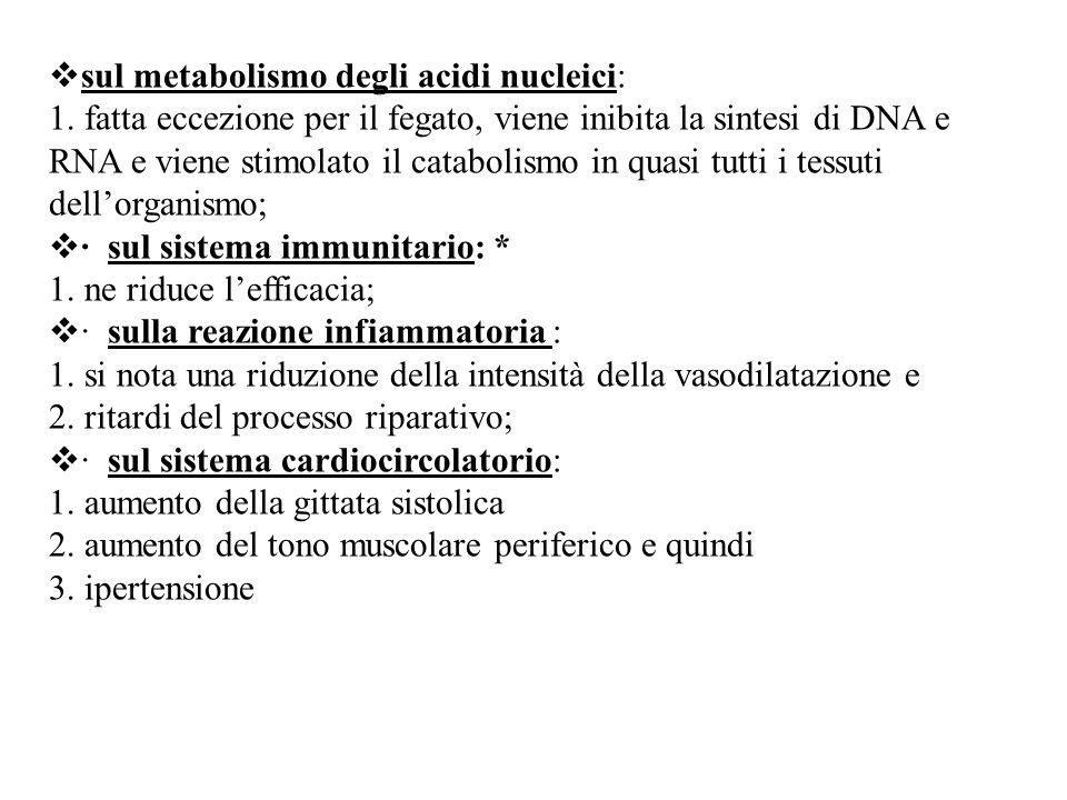  sul metabolismo degli acidi nucleici: 1. fatta eccezione per il fegato, viene inibita la sintesi di DNA e RNA e viene stimolato il catabolismo in qu
