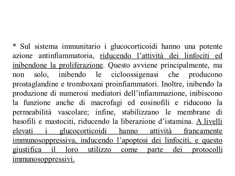 * Sul sistema immunitario i glucocorticoidi hanno una potente azione antinfiammatoria, riducendo l'attività dei linfociti ed inibendone la proliferazione.