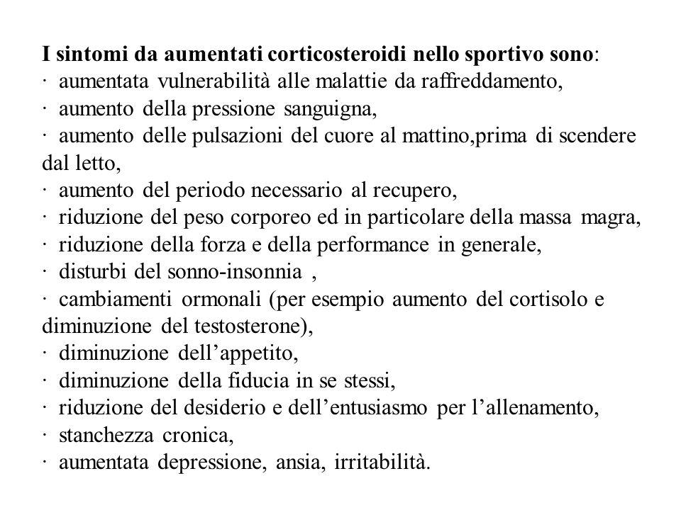 I sintomi da aumentati corticosteroidi nello sportivo sono: · aumentata vulnerabilità alle malattie da raffreddamento, · aumento della pressione sangu
