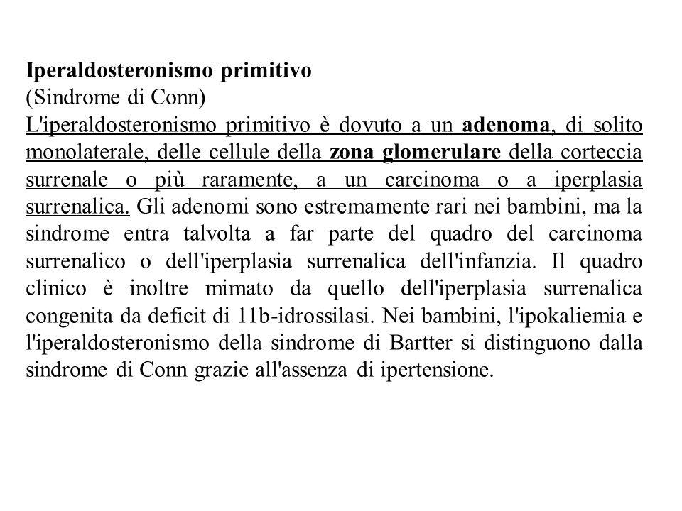 Iperaldosteronismo primitivo (Sindrome di Conn) L'iperaldosteronismo primitivo è dovuto a un adenoma, di solito monolaterale, delle cellule della zona