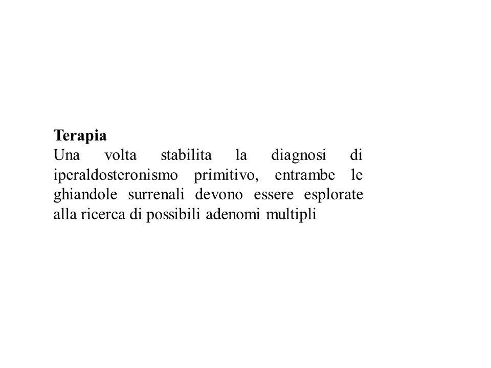 Terapia Una volta stabilita la diagnosi di iperaldosteronismo primitivo, entrambe le ghiandole surrenali devono essere esplorate alla ricerca di possibili adenomi multipli