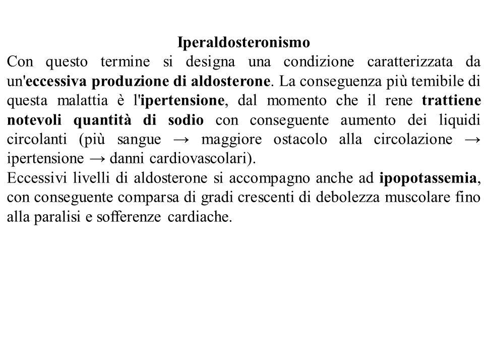 Iperaldosteronismo Con questo termine si designa una condizione caratterizzata da un'eccessiva produzione di aldosterone. La conseguenza più temibile