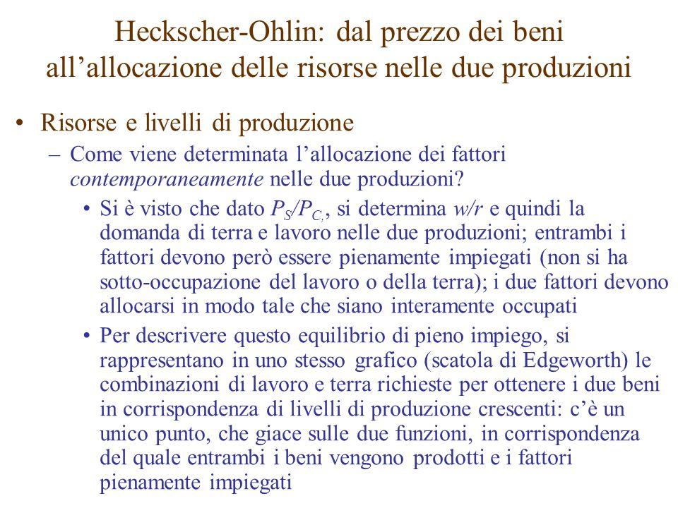 Risorse e livelli di produzione –Come viene determinata l'allocazione dei fattori contemporaneamente nelle due produzioni? Si è visto che dato P S /P