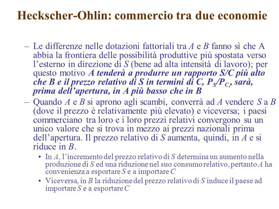 –Le differenze nelle dotazioni fattoriali tra A e B fanno sì che A abbia la frontiera delle possibilità produttive più spostata verso l'esterno in dir