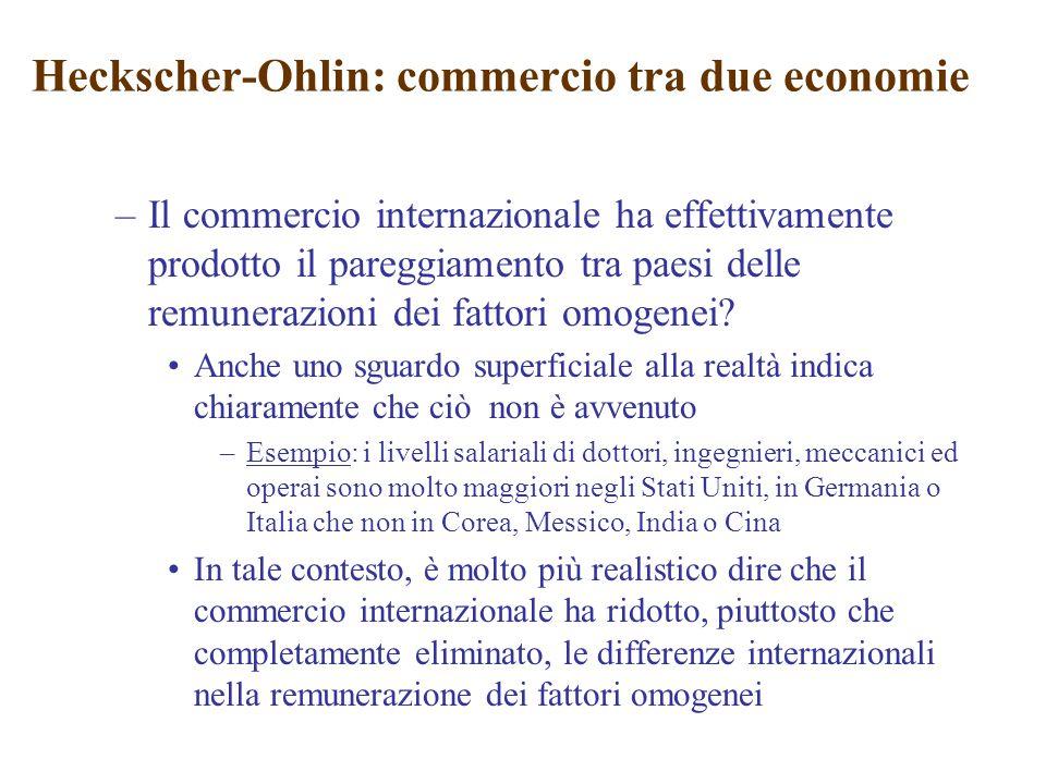 –Il commercio internazionale ha effettivamente prodotto il pareggiamento tra paesi delle remunerazioni dei fattori omogenei? Anche uno sguardo superfi