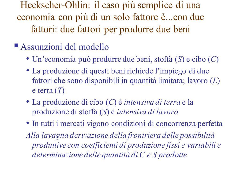  Assunzioni del modello Un'economia può produrre due beni, stoffa (S) e cibo (C) La produzione di questi beni richiede l'impiego di due fattori che s