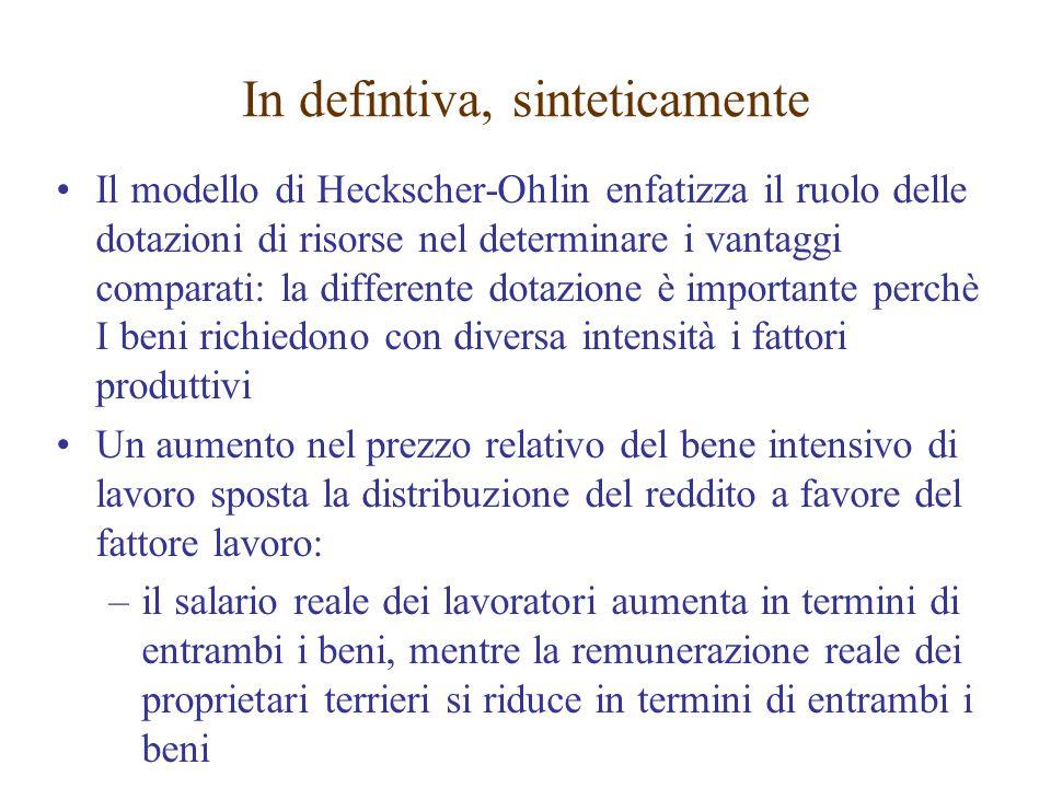 Il modello di Heckscher-Ohlin enfatizza il ruolo delle dotazioni di risorse nel determinare i vantaggi comparati: la differente dotazione è importante