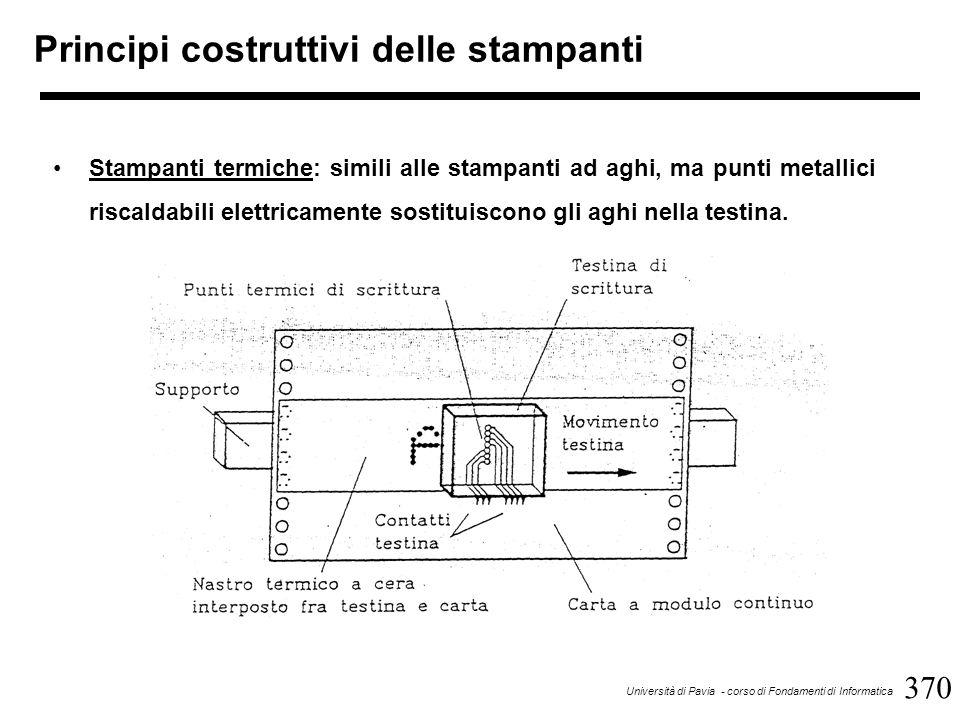 370 Università di Pavia - corso di Fondamenti di Informatica Principi costruttivi delle stampanti Stampanti termiche: simili alle stampanti ad aghi, ma punti metallici riscaldabili elettricamente sostituiscono gli aghi nella testina.
