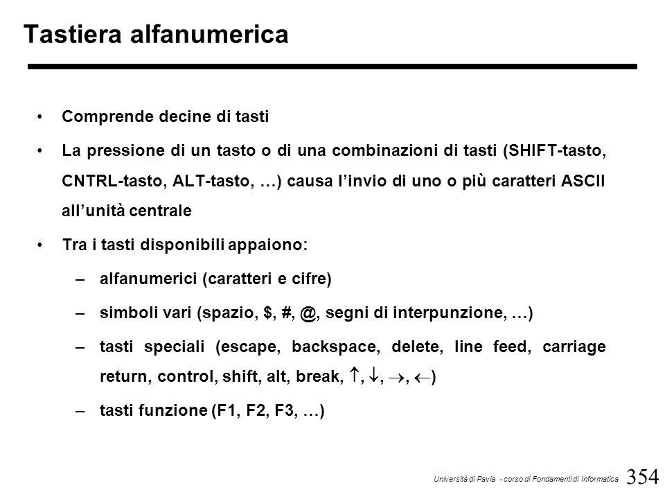 354 Università di Pavia - corso di Fondamenti di Informatica Tastiera alfanumerica Comprende decine di tasti La pressione di un tasto o di una combinazioni di tasti (SHIFT-tasto, CNTRL-tasto, ALT-tasto, …) causa l'invio di uno o più caratteri ASCII all'unità centrale Tra i tasti disponibili appaiono: –alfanumerici (caratteri e cifre) –simboli vari (spazio, $, #, @, segni di interpunzione, …) –tasti speciali (escape, backspace, delete, line feed, carriage return, control, shift, alt, break, , , ,  ) –tasti funzione (F1, F2, F3, …)