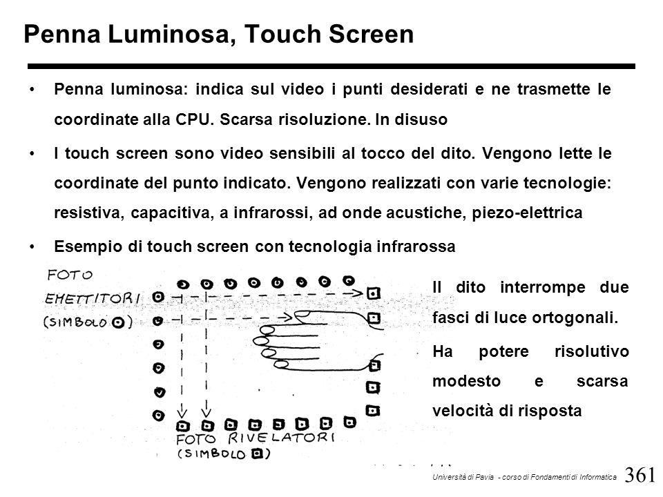 361 Università di Pavia - corso di Fondamenti di Informatica Penna Luminosa, Touch Screen Penna luminosa: indica sul video i punti desiderati e ne trasmette le coordinate alla CPU.