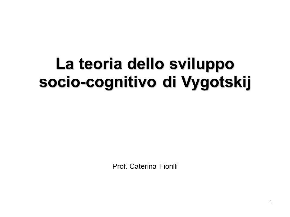 1 La teoria dello sviluppo socio-cognitivo di Vygotskij Prof. Caterina Fiorilli