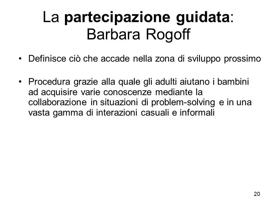 20 La partecipazione guidata: Barbara Rogoff Definisce ciò che accade nella zona di sviluppo prossimo Procedura grazie alla quale gli adulti aiutano i